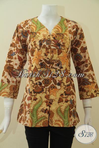 Batik Blus Halus Model Mewah Proses Printing, Pakaian Batik Seragam Kerja Wanita Karir Kwalitas Bagus Harga Murmer, Size M