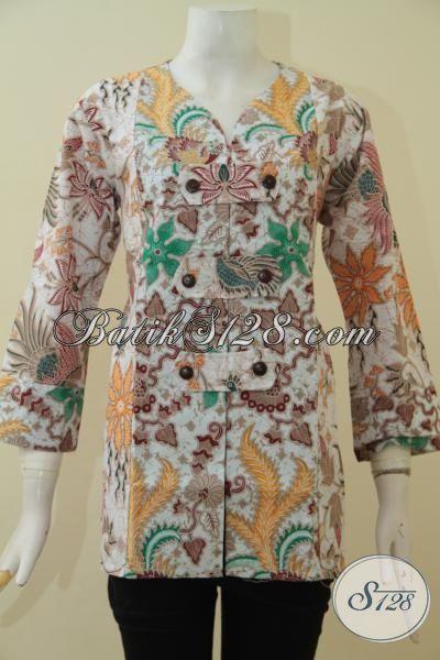Batik Kerja Bahan Halus Motif Keren, Pakaian Blus Perempuan Masa Kini Bahan Batik Solo Proses Printing, Keren Buat Pesta Dan Modis Untuk Kerja, Size L