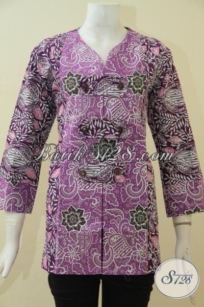 Baju Batik Blus Ukuran L Warna Ungu, Pakaian Batik Kerja Perempuan Karir Proses Cap Halus Dan Nyaman Di Pakai