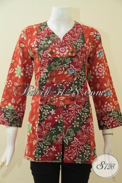 Produk Busana Batik Terkini Dengan Model Berekelas Bikin Cewek Terlihat Modis Memikat, Blus Batik Solo Proses Cap Tulis Harga Terjangkau, Size L