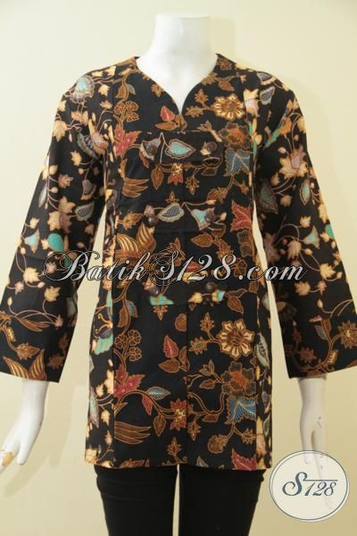 Sedia Produk Busana Batik Jawa Terbaru Buat Wanita, Blus Batik Cantik Motif Bunga Dasar Hitam Proses Printing Bikin Cewek Nampak Modis Dan Berkharisma, Size XL