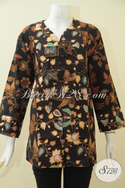 Baju Batik Jawa Modern Motif Bunga Dan Kupu, Busana Batik Kwalitas Halus Proses Print Desain Berkelas Yang Membuat Wanita Dewasa Makin Anggun, Size XL