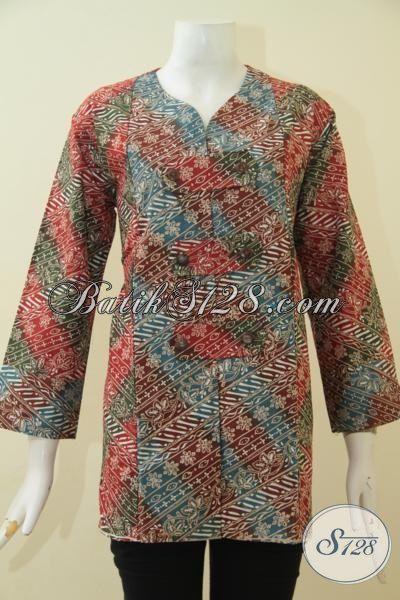 Batik Blus Elegan Motif Terbaru Dengan Desain Nan Elegan Bikin Wanita Terlihat Berkharisma, Size XL