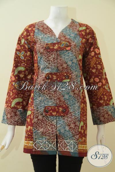Jual Online Blus Batik Jumbo 3L, Pakaian Batik Perempuan Gemuk Berbahan Halus Dan Adem Proses Cap Tulis, Size XXL