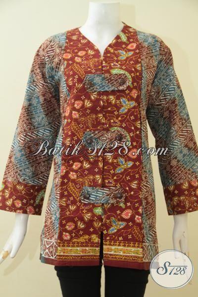 Jual Batik Blus Jumbo Dual Motif, Pakaian Batik Perempuan Berbadan Gemuk Model Terkini, Baju Kerja Bahan Batik Cap Tulis Halus Motif Keren Banget [BLS3618CT-XXL]