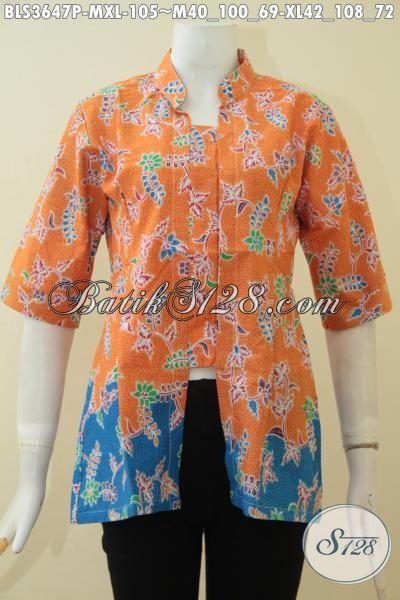 Produk Blus Batik Printing Warna Orange Kombinasi Biru, Baju Batik Keren Model Terbaru Yang Cocok Untuk Wanita Muda Dan Dewasa [BLS3647P-M]