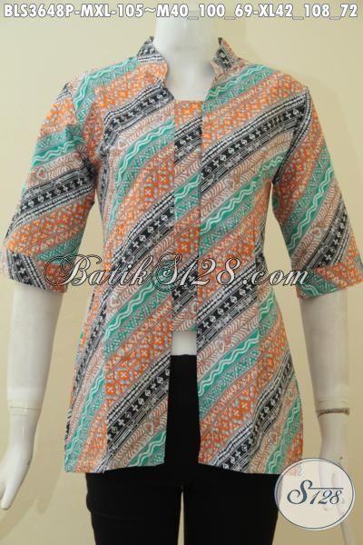 Baju Seragam Kerja Bahan Batik Print Motif Parang, Blus Batik Modern Dengan Kombinasi Warna Mewah Membuat Wanita Karir TerlihatCantik Maksimal, Size M – XL