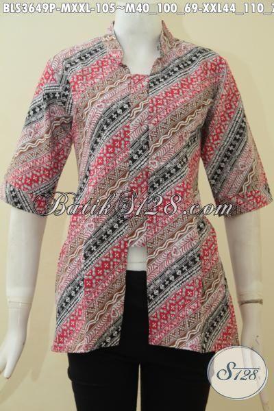 Desain Busana Batik Jawa Etnik Untuk Wanita Dewasa, Pakaian Batik Halus Proses Printing Yang Cocok Untuk Kerja Dan Acara Formal Tampil Lebih Mempesona [BLS3649P-M]