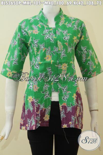 Batik Blus Keren Penunjang Penampilan Wanita Karir Masa Kini, Baju Batik Hijau Kombinasi Ungu Motif Bunga Proses Print Model Yang Di Sukai [BLS3650P-XL]