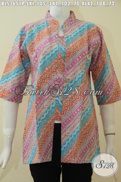 Blus Batik Parang Warna Modern Yang Trendy Dan Fashionable, Baju Batik Print Jawa Halus Harga Murmer, Size L – XL