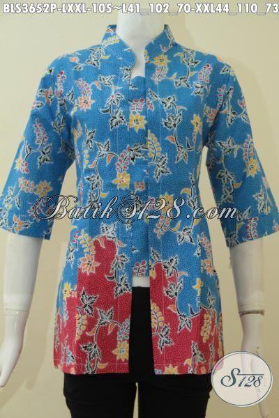 Batik Blus Trendy Harga Terjangkau Dengan Kwalitas Bagus Model Elegan, Baju Batik Printing Istimewa Untuk Kerja Dan Acara Formal, Size L – XXL