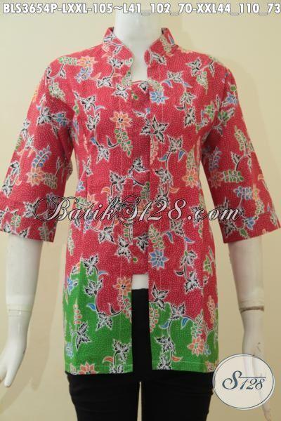 Busana Batik Cewek Dewasa Model Formal, Baju Batik Lengan Pendek Desin Berkelas Berpadu Warna Trendy Membuat Wanita Makin Terlihat Anggun [BLS3654P-L]