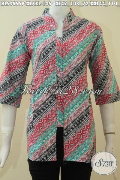 Baju Batik Perempuan Ukuran Jumbo, Baju Batik 3L Spesial Wanita Gemuk, Berbahan Batik Printing Halus Motif Klasik Warna Modern, Size XXL