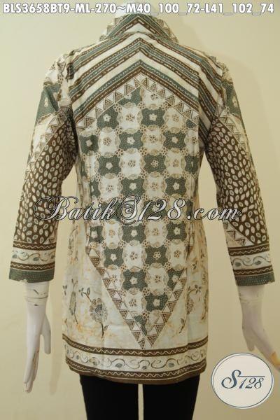 Jual Online Blus Batik Bagus Buatan Solo, Pakaian Batik Kombinasi Tulis Desain Elegan Motif Mewah Membuat Wanita Nampak Berkharisma, Size M – L