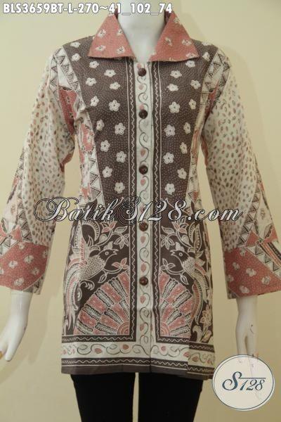 Jual Batik Blus Online Kwalitas Premium, Pakaian Kerja Batik Kombinasi Tulis  Model Mewah Tampil Makin Cetar Membahan [BLS3659BT-L]