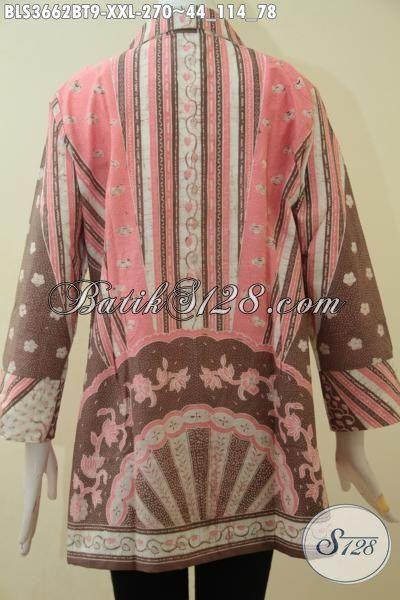 Agen Pakaian Batik Wanita, Sedia Blus Batik Model Terkini, Baju Batik Motif Klasik Elegan Size Jumbo Proses Kombinasi Tulis, Pas Untuk Ke Kantor Wanita Gemuk , Size XXL