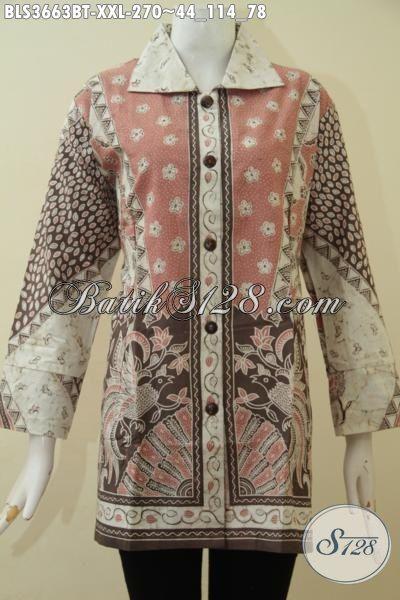 Jual Baju Batik 3L Khusus Untuk Wanita Gemuk, Baju Batik Jumbo Proses Kombinasi Tulis Model Mewah Tampil Makin Cantik Luar Biasa, Size XXL
