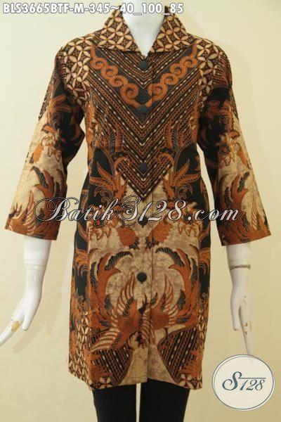 Pakaian Batik Blus Premium Untuk Wanita Karir Tampil Mewah, Baju Batik Para Pegawai Dengan Motif Elegan Kombinasi Tulis Daleman Full Furing, Size M