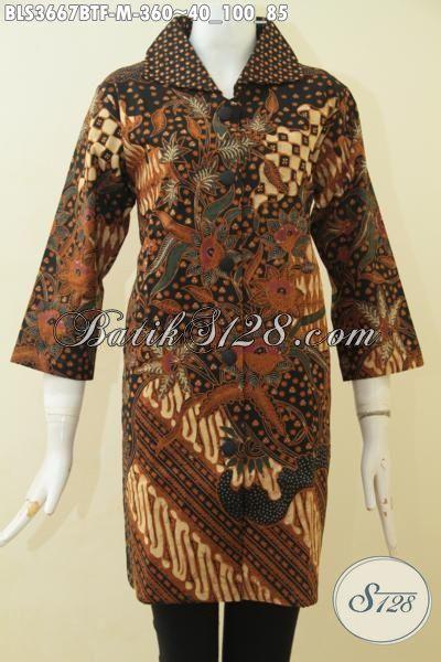 Busana Kerja Wanita Karir Berbahan Batik Klasik Kombinasi Tulis Desain Mewah, Baju Batik Kwalitas Premium Untuk Tampil Rapi Dan Anggun, Size M