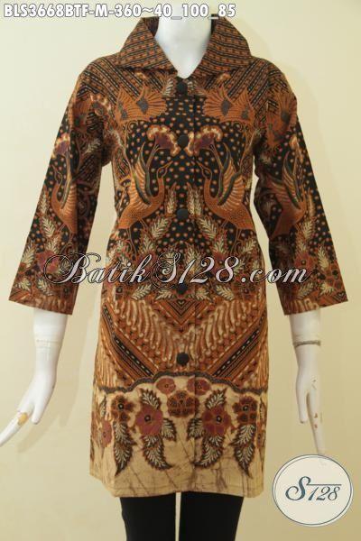 Pusat Pakaian Batik Jawa Tengah Online Di Solo, Jual Blus Batik Klasik Kombinasi Tulis Model Terbaru Yang Lebih Mewah Dan Elegan Kesukaan Wanita Karir, Size M