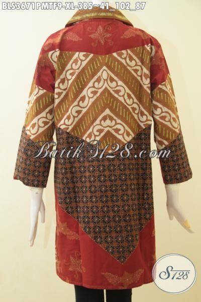 Batik Blus Elegan Motif Klasik Proses Kombinasi Tulis, Baju Batik Berkelas Buatan Solo Spesial Untuk Perempuan Karir Yang Gila Fashion, Size XL