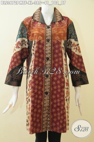 Baju Batik Elegan Nan Mewah Buatan Solo Dengan Bahan Berkwalitas Tinggi Proses Kombinasi Tulis, Busana Blus Batik Premium Pake Furing Tricot Size XL Wanita Dewasa Makin Berkharisma