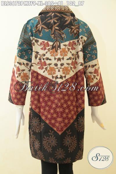 Jual Online Baju Batik Premium Perempuan Masa Kini, Seragam Kerja Mewah Model Terbaru Yang Lebih Berkelas Membuat Wanita Karir Terlihat Modis Sempurna, Size XL