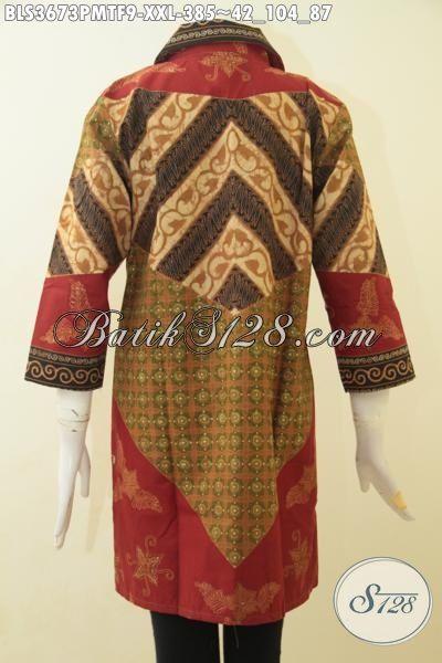 Baju Batik Cewek Ukuran Jumbo, Busana Batik Kombinasi Tulis Buat Wanita Gemuk, Berbahan Halus Proses Kombinasi Tulis Dengan Furing Tricot Nan Mewah [BLS3673PMTF-XXL]