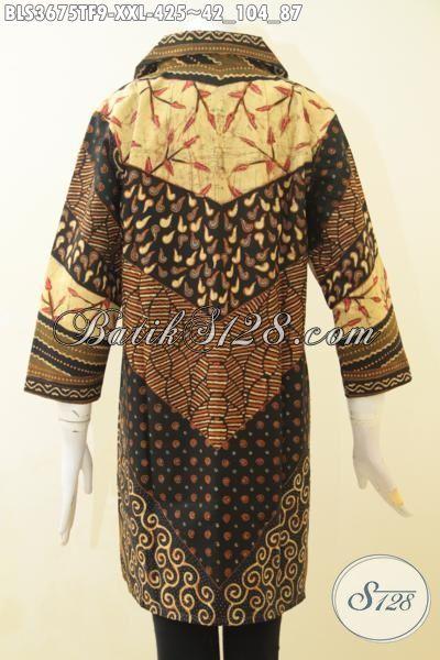 Jual Online Pakaian Batik Jawa Size Jumbo Proses Tulis, Baju Batik Istimewa Buat Wanita Gemuk Bisa Tampil Modis Dan Berkelas, Blus Batik Premium Daleman Full Furing [BLS3675TF-XXL]