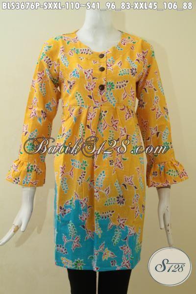Blus Batik Printing Warna Kuning Kombinasi Biru Laut, Batik Jawa Halus Model Terbaru Yang Trendy Serta Fashionable, Size S – XXL