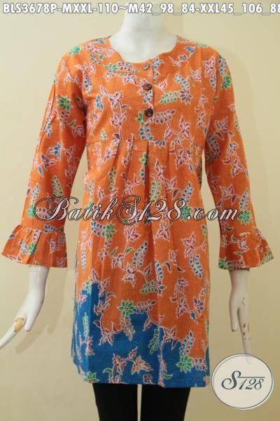 Butik Online Jual Baju Batik Wanita Model Terbaru Kwalitas halus Proses Print, Busana Batik Santai Motif Bunga Cocok Buat Jalan-Jalan, Size M – XXL