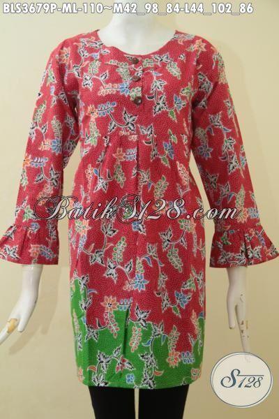 Blus Batik Warna Merah Kombinasi Hijau Keren Banget, Busana Batik Wanita Muda Proses Printing Halus Bikin Penampilan Terlihat Makin Feminim [BLS3679P-M]