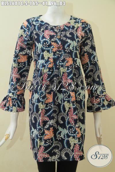 Blus Batik Ukuran Kecil Desain Spesial Berbahan Halus Proses Cap Tulis, Baju Batik Motif Bunga Trendy Cocok Untuk Prempuan Muda, Size S