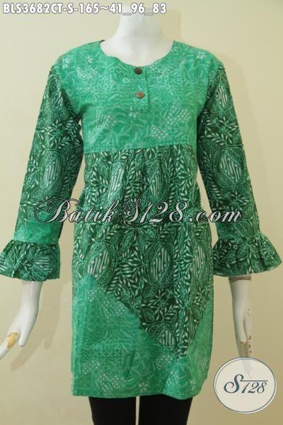 Jual Produk Pakaian Batik Berkelas Proses Cap Tulis, Baju Batik Blus Kombinasi Dua Motif Dengan Desain Atraktif Bikin Penampilan Lebih Istimewa [BLS3682CT-S]