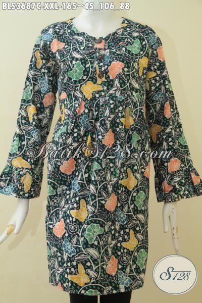 Baju Blus Ukuran Jumbo Edisi Spesial Untuk Wanita Gemuk, Busana Batik Modern Motif Bagus Proses  Cap Size XXL