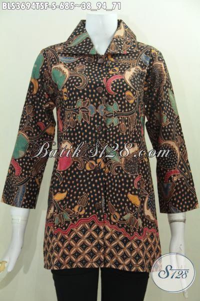 Batik Blus Premium Buatan Solo Untuk Wanita Muda Karir Sukses, Busana Batik Elegan Proses Tulis Kwalitas Mewah Daleman Pake Furing Tampil Makin Berkelas [BLS3694TSF-S]