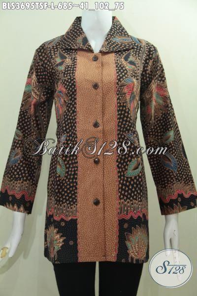 Jual Baju Batik Blus Premium Proses Tulis Pewarna Soga, Baju Batik Mewah Full Furing Motif Berkelas Tampil Makin Berkharisma, Size L
