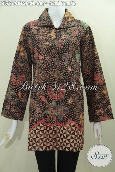 Sedia Pakaian Batik Klasik Proses Tulis Soga, Baju Kerja Premium Pake Furing Lebih Mewah Dan Berkelas, Cewek Makin Cantik Cetar Membahana, Size XL