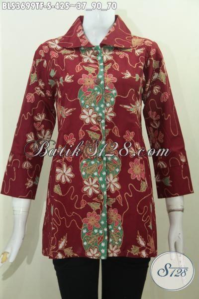 Toko Pakaian Batik Online Jual Blus Batik Merah Desain Terkini Yang Mewah, Baju Batik Tulis Motif Pake Furing Elegan Cocok Untuk Pesta Dan Acara Formal [BLS3699TF-S]