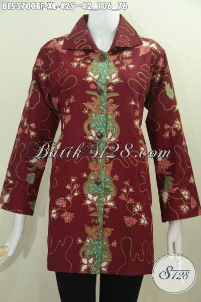 Baju Batik Warna Merah Marun Buat Wanita Dewasa Model Terbaru Yang Lebih Mewah, Baju Batik Tulis Full Furing Cocok Untuk Acara Formal, Size XL