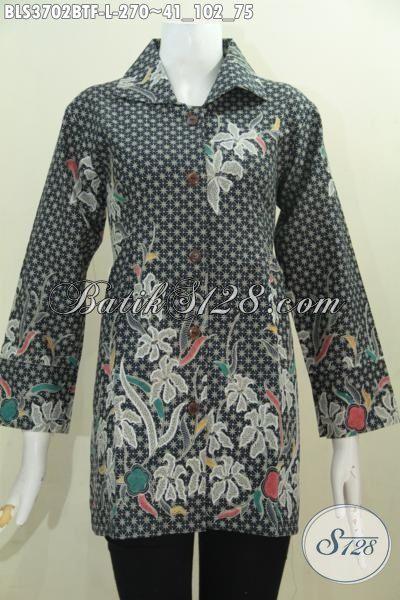 Pakaian Batik Elegan Motif Berkelas Untuk Kerja Kantoran, Produk Batik Blus Istimewa Kombinasi Tulis Model Daleman Pake Furing Lebih Mewah Dan Elegan, Size L