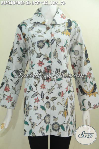Baju Batik Trendy Motif Bunga Warna Dasar Putih, Busana Batik Blus Produk Terbaru Dari Solo Kwalitas Halus Proses Kombinasi Tulis Desain Mewah Dan Elegan, Size XL
