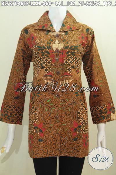 Butik Online Batik Solo Jual Blus Batik Klasik Elegan Berbahan Halus Desain Istimewa Proses Kombinasi Tulis Tampil Memikat Dan Menawan, Size L – XXL