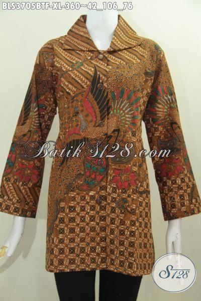 Batik Blus Model Terbaru Dengan Desain Formal Berkelas Cocok Untuk Acara Resmi, Baju Batik Wanita Elegan Daleman Full Furing Membaeri Kesan Mewah Dan Berkelas, Size XL