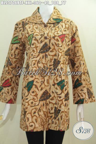 Batik Blus Elegan Model Terbaru Daleman Pake Furing Ukuran Jumbo, Baju Batik Jawa Istimewa Kwalitas Halus Kombinasi Tulis Cewek Gemuk Tampil Anggun Mempesona [BLS3706BTF-XXL]