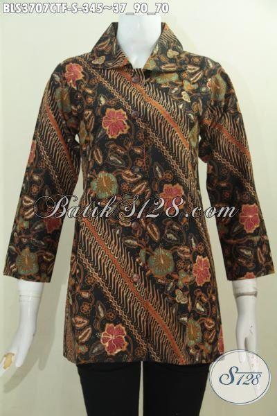 Blus Batik Modern Classic Buatan Solo Motif Parang Bunga Cap Tulis, Baju Batik Jawa Kwalitas Premium Desain Daleman Pake Furing Tampil Makin Mewah, Size S