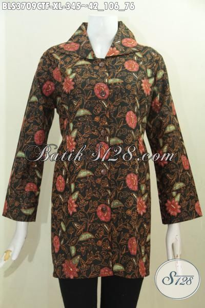Blus Batik Motif Bunga Proses Cap Tulis, Busana Batik Kerja Wanita Karir Model Terkini Daleman Pake Furing Lebih Mewah Dan Nyaman Di Pakai [BLS3709CTF-XL]