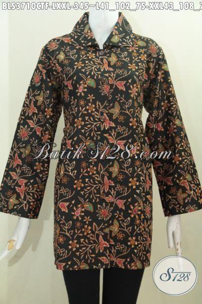 Jual Aneka Pakaian Batik Blus Modern Motif Bunga Proses Cap Tulis, Produk Baju Kerja Batik Terkini Pake Furing Desain Istimewa Tampil Lebih Mewah, Size L – XXL
