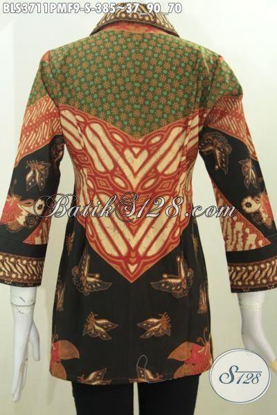 Produk Baju Batik Klasik Lengan Tujuh Perdelapan Pake Furing, Busana Batik Kombinasi Tulis Untuk Wanita Muda Tampil ELegan Di Kantor, Size S