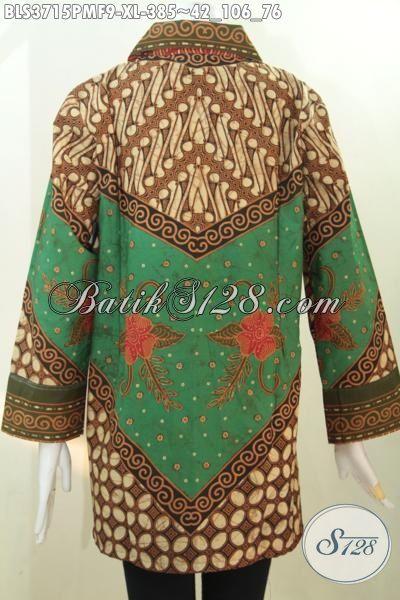Toko Batik Solo Online Sedia Baju Blus Batik Klasik Elegan Kombinasi Tulis, Busana Batik Pake Furing Elegan Dan Mewah Buat Acara Resmi Tampil Mempesona [BLS3715PMF-XL]